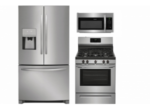 Frigidaire French Door Refrigerator,  5-Burner Self-cleaning Freestanding Gas Range & Over-the-Range Microwave