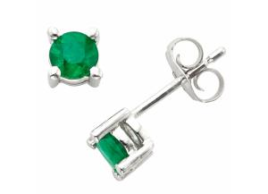 Image for 4.5mm Round Emerald Earrings in 14K Gold