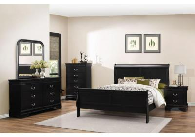 Louis Black Queen 5 PC set (dresser,mirror,nightstand,chest)