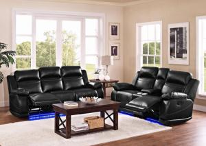 Image for Black LED Reclining Sofa and Loveseat