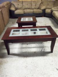 Ashley Cherry Frosted Glass 2pc Occasional Tables 000808 WAS: $329.99