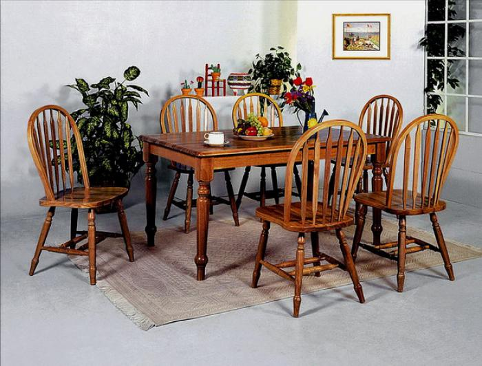 5 Pc Dark Oak Dinette Set (Table & 4 Chairs),Crown Mark