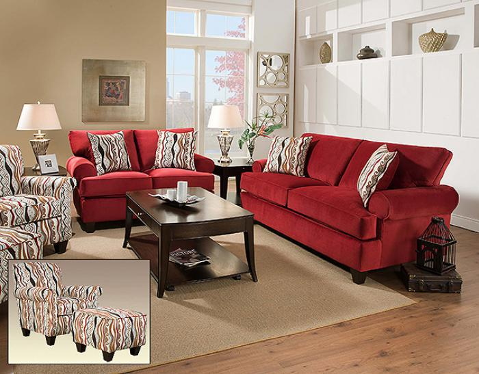 Corinthian Jackpot Red Sofa W/ Loveseat Set,AWF