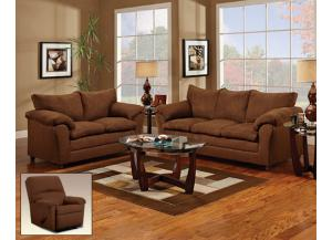 Flat Suede Chocolate Sofa With Loveseat 2Pc Set