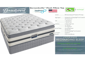 Image for Simmons Beauty Rest Recharge Bernardsville Pillowtop Hybrid Queen Mattress & Boxspring Set