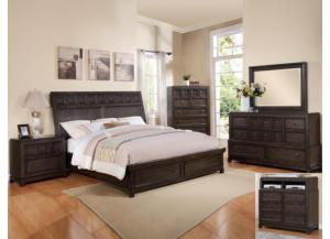 Asher King Bed Set (King Bed, Dresser/Mirror, & Chest)