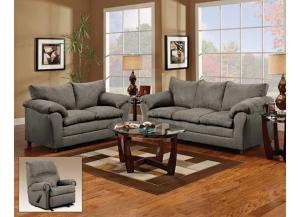 Flat Suede Graphite Sofa With Loveseat 2Pc Set