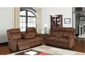 U9303 Chocolate Double Reclining Sofa W/ Dropdown Table