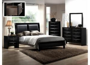 Emily Black Queen Bed Set ( Queen Bed, Dresser/Mirror, & Chest)
