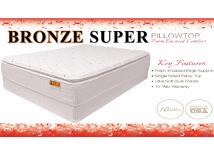 Bronze Super Pillowtop Full Mattress & Boxspring Set