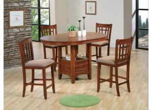 5 Pc Empire Oak Pub Set (Table & 4 Chairs)