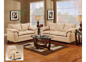 Flat Suede Taupe Sofa With Loveseat 2Pc Set