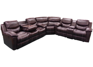 3Pc Chestnut Power Sofa Sectional