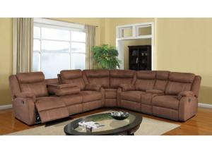 U9303 3Pc Chocolate Sectional W/ Dropdown Table & Console