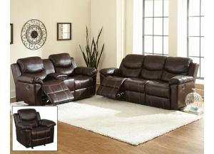 Chestnut Power Recliner Sofa W/ Recliner/Glider Loveseat Set