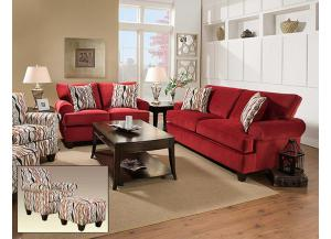 Corinthian Jackpot Red Sofa W/ Loveseat Set