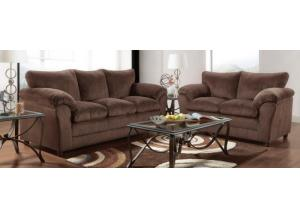Image for Plush K. Chocolate Sofa With Loveseat 2Pc Set