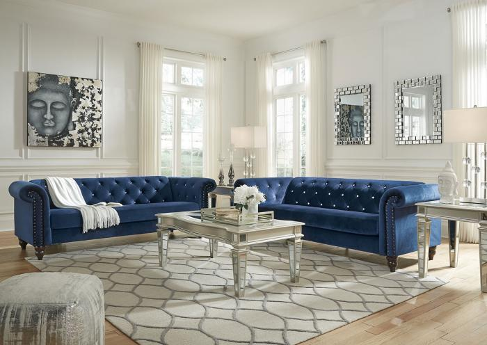 Blue Sofa and Loveseat,Home Gallery Showcase