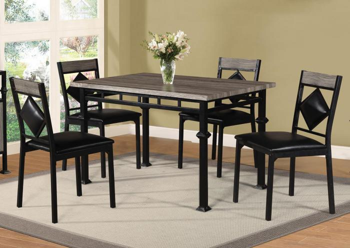 Black and Brown 5 Piece Dinette,Home Gallery Showcase