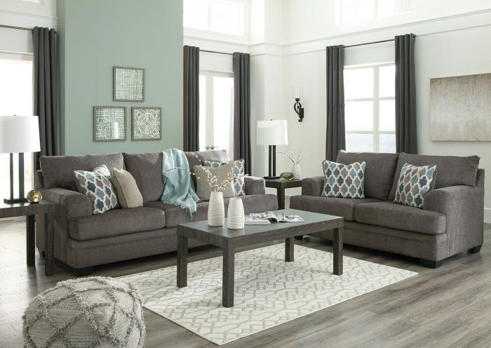 Gray Fabric Sofa and Loveseat,Home Gallery Showcase