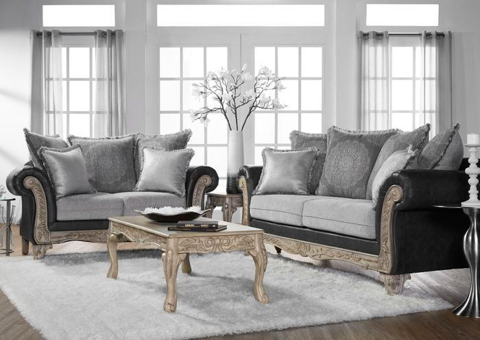 Grey Stationary Sofa & Loveseat,InStore ONLY