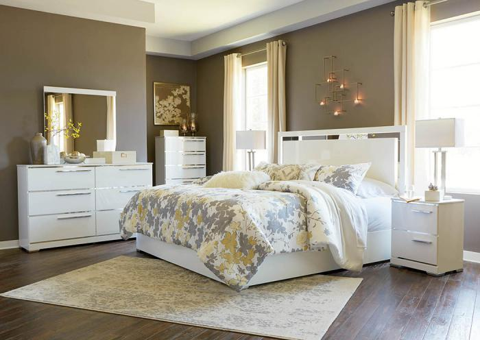 5 pc Queen Bedroom Set w/ Headboard LED lights, Footboard, Rails, Dresser, Mirror,Home Gallery Showcase