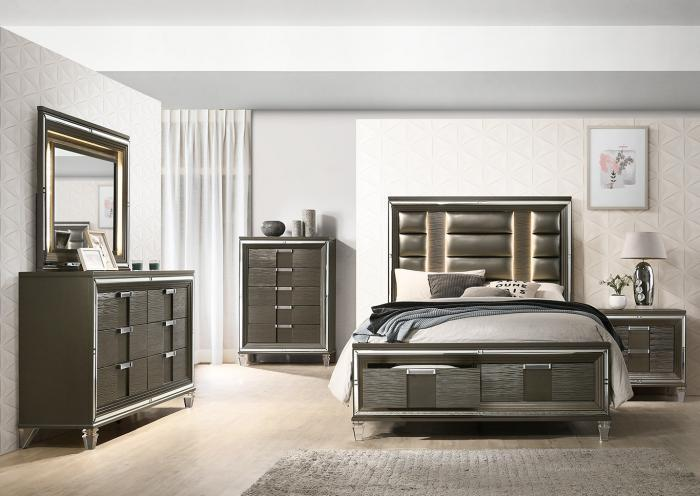 Elements Queen Bed w/Dresser and Mirror,Home Gallery Showcase
