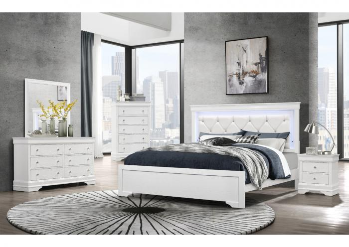 Global Pompeii White 5 Piece Queen Bedroom,Home Gallery Showcase