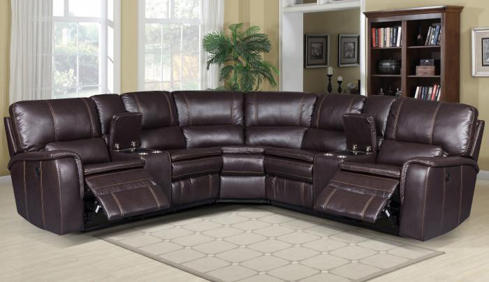 lifestyle belair brown pu power reclining sectional w 2 consoles instore only