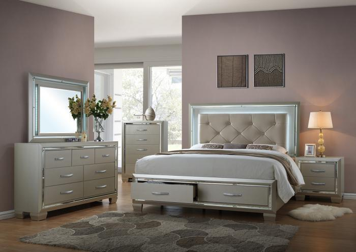 Platinum Queen Bed, Dresser, and Mirror,Home Gallery Showcase