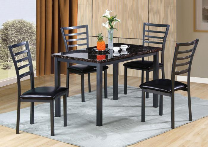 5 Piece Dining Set w/ Faux Marble Top,Home Gallery Showcase