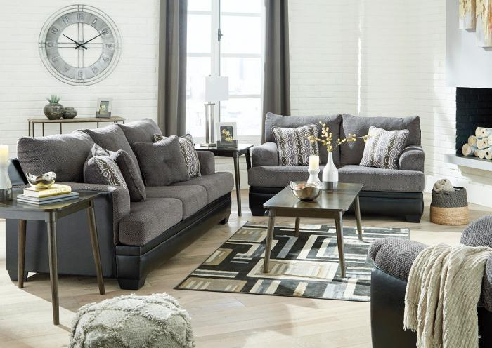 Gray and Black Fabric Sofa and Loveseat,Home Gallery Showcase