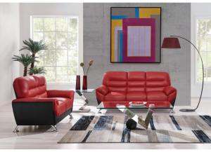 Red/Black Sofa and Loveseat