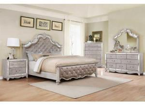 5pc Queen Bedroom w/ Headboard, Footboard, Rails, Dresser, Mirror