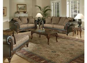Traditional Two Tone Sofa and Loveseat