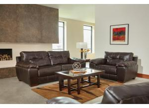 Hudson Chocolate Leather Gel Sofa W/ Memory Foam