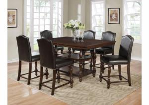 Langley Brown Rectangular Counter Height Dining Set W/ 4 Chairs
