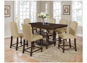 Langley Taupe Rectangular Counter Height Dining Set W/ 4 Chairs