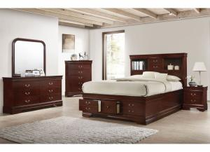 Lifestyle Louis Phillipe Walnut Queen Storage Bed, Dresser, & Mirror,Home Gallery Showcase