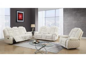 Global White Reclining Sofa & Loveseat