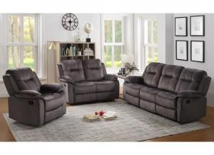 Gray Reclining Sofa and Reclining Loveseat + FREE RECLINER