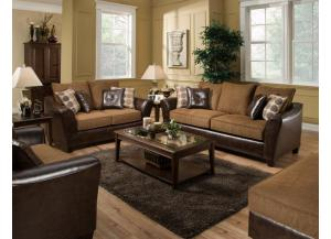 Two Tone Contemporary Sofa and Loveseat