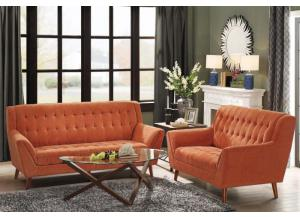 Orange Sofa and Loveseat