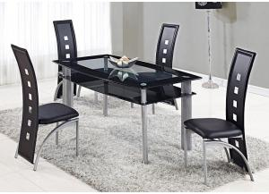 Clear w/Black Trim Dining Table & 4 Chairs