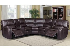 Lifestyle Belair Brown PU Power Reclining Sectional w/2 Consoles,InStore ONLY