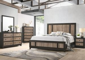 Brown Queen Bed w/Dresser, Mirror, Chest and Nightstand,Home Gallery Showcase