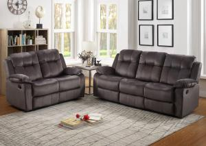Gray Reclining Sofa and Reclining Loveseat + FREE RECLINER,Life Styles