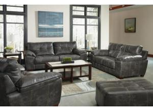 Hudson Charcoal Leather Gel Sofa W/ Memory Foam