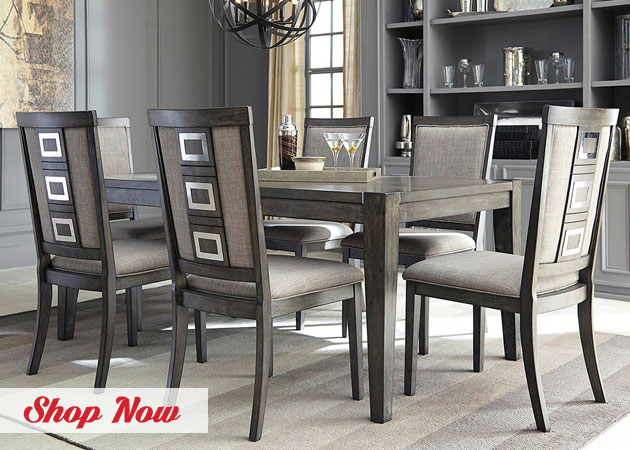 Chadoni Gray Rectangular Dining Room Extension Table with Six Upholstered Side Chairs