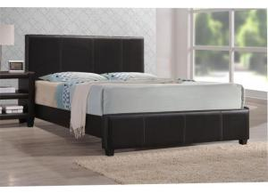 Image for Brown Leather Queen Bed Frame